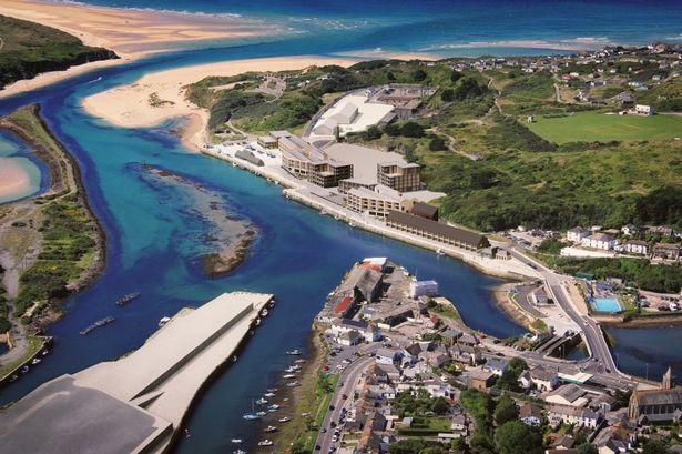The development area at North Quay Hayle Harbour - the areas outlined in red are those which were withdrawn from the reserved matters application approved today